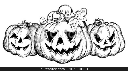 Halloween theme drawing 2 stock vector clipart, Halloween theme drawing 2 - vector illustration. by Klara Viskova