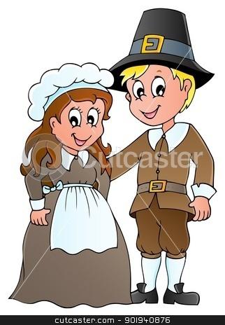 Thanksgiving pilgrim theme 1 stock vector clipart, Thanksgiving pilgrim theme 1 - vector illustration. by Klara Viskova
