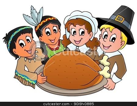 Thanksgiving pilgrim theme 3 stock vector clipart, Thanksgiving pilgrim theme 3 - vector illustration. by Klara Viskova