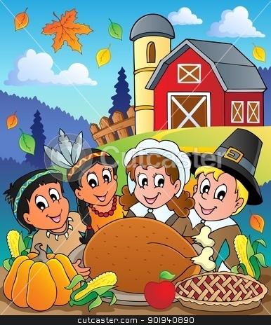 Thanksgiving pilgrim theme 4 stock vector clipart, Thanksgiving pilgrim theme 4 - vector illustration. by Klara Viskova