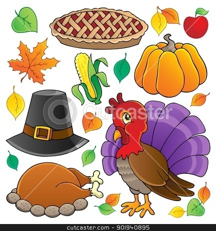 Thanksgiving theme collection 1 stock vector clipart, Thanksgiving theme collection 1 - vector illustration. by Klara Viskova