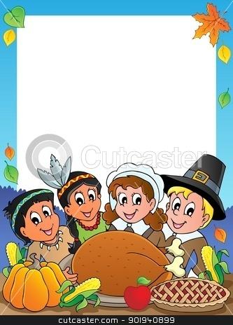 Thanksgiving theme frame 2 stock vector clipart, Thanksgiving theme frame 2 - vector illustration. by Klara Viskova