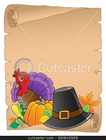 Thanksgiving theme parchment 2 stock vector clipart, Thanksgiving theme parchment 2 - vector illustration. by Klara Viskova