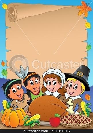 Thanksgiving theme parchment 5 stock vector clipart, Thanksgiving theme parchment 5 - vector illustration. by Klara Viskova