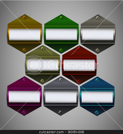 Vector metallic stickers collection with empty text  stock vector clipart, Vector multicolored metallic stickers collection with empty text block by Vladimir Repka