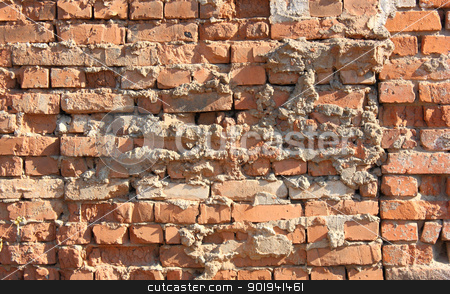 Old red  wall  stock photo, Old red with hollows a brick wall of the house a structure by aarrows