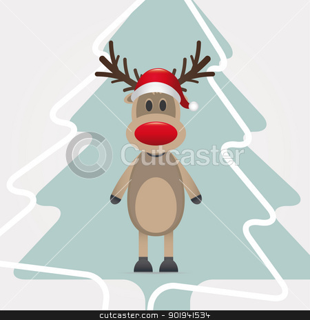 reindeer red nose hat pinetree stock photo, reindeer red nose santa claus hat pinetree by d3images