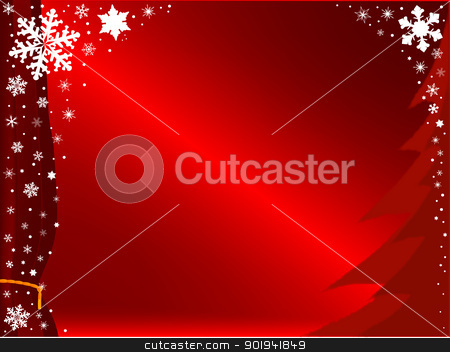 Christmas Snowflakes stock vector clipart, A christmas scene of snowflakes falling against a rich red background. by Kotto