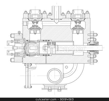 Hydraulic piston pump part stock vector clipart, Sketch. Hydraulic piston pump part. EPS 10 by cherezoff