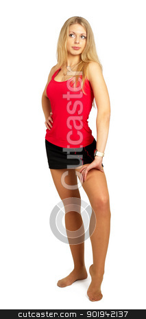 Pretty girl stock photo, Pretty adult girl with perfect forms on white by Aikon