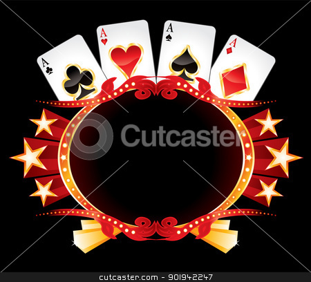 Casino neon stock vector clipart, Cards with poker symbols over vintage gold frame by Oxygen64