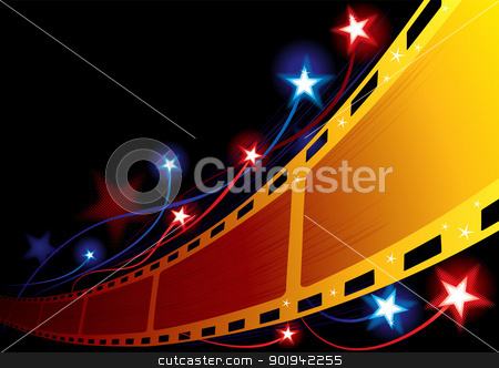 Cinema background stock vector clipart, Design for movie premiere or projection in cinema by Oxygen64