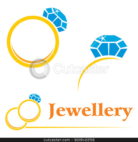 Rings with diamond stock vector clipart, Set of concepts symbols for expensive jewellery by Oxygen64