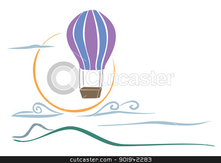Sky balloon stock vector clipart, Landscape with balloon over mountains and clouds by Oxygen64