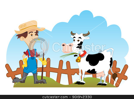Farmer and cow stock vector clipart, Country scene with farmer and cow by Oxygen64