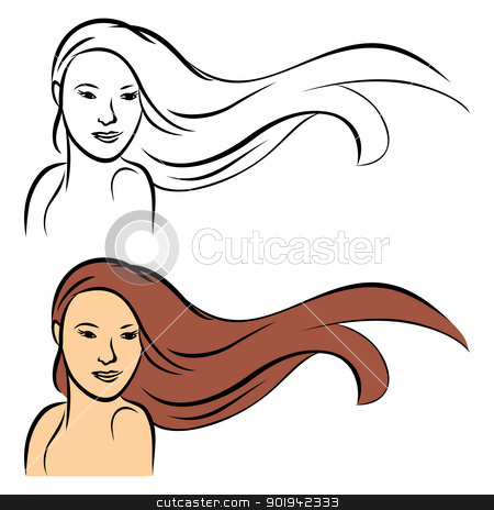 Long hair stock vector clipart, Portrait of girl with long hair by Oxygen64