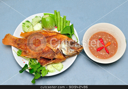 Pan fried fish stock photo, Pan fried fish , chili sauce , vegetable by bigjom
