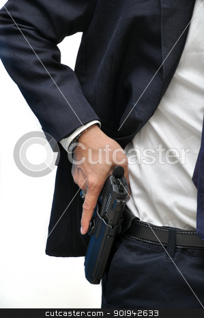 Man with gun stock photo, Agent wearing white shirt drawing gun from holster by bigjom
