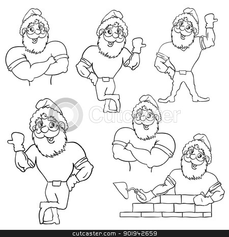 A set of pictures muscular Santa Claus  stock vector clipart, A set of pictures muscular Santa Claus in various poses. by aarrows