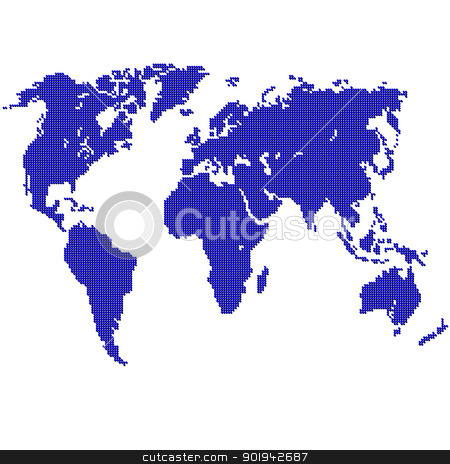 Detailed vector map of the world  stock vector clipart, Detailed vector map of the world in an abstract style by aarrows