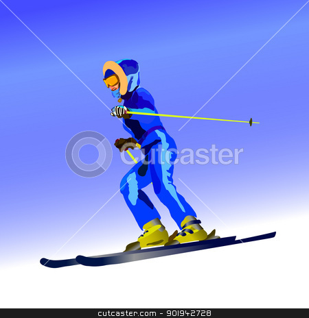 Skier stock vector clipart, The girl on skis in dark blue overalls goes from mountain by aarrows