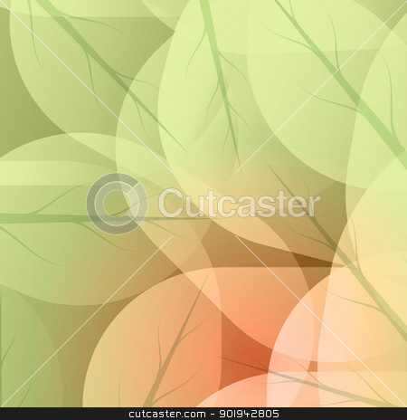 Background of green leaves stock vector clipart, Background of green leaves abstract vector. by Pavel Skrivan