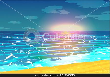 Sunset over the ocean vector stock vector clipart,  by Pavel Skrivan