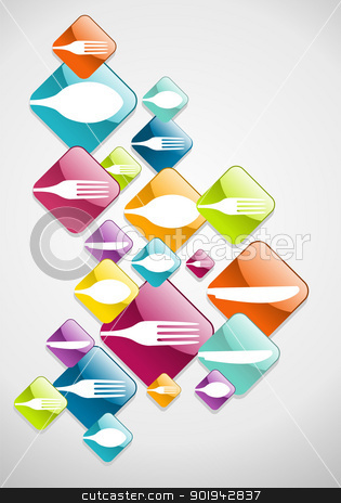 Arrow shaped food glossy icons background stock vector clipart, Multicolored cutlery web icons background for food industry. Vector illustration layered for easy manipulation and custom coloring by Cienpies Design