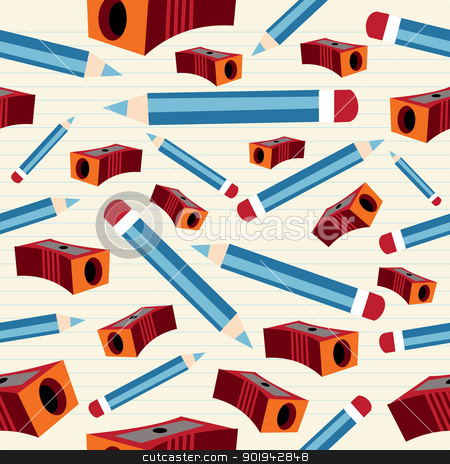 Pencil and sharpener pattern stock vector clipart, Back to School pencil and sharpener seamless pattern on lined notebook paper background. Vector illustration layered for easy manipulation and custom coloring. by Cienpies Design