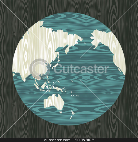 Wooden world shape concept stock vector clipart, Wooden world shape concept Asia, Australia and Oceania map postcard background. Vector illustration layered for easy manipulation and custom coloring. by Cienpies Design
