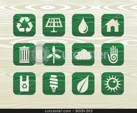 Environmental green icons in organic wood stock vector clipart, Environmental green icons set in organic wood graphics background. Vector illustration layered for easy manipulation and custom coloring. by Cienpies Design