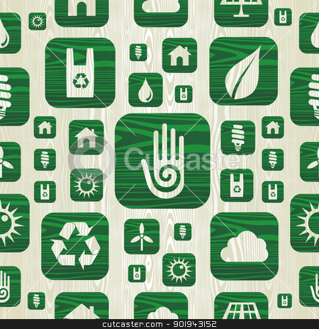 Environmental green icons pattern in organic wood stock vector clipart, Environmental green icons set in organic wood seamless pattern background. Vector illustration layered for easy manipulation and custom coloring. by Cienpies Design