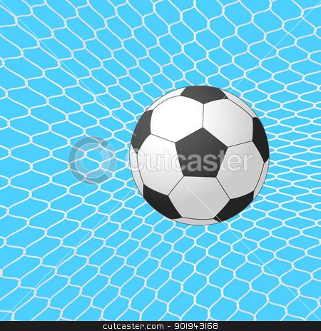 Soccer ball in goal. Vector. stock vector clipart, Soccer ball in goal. Vector. by aarrows
