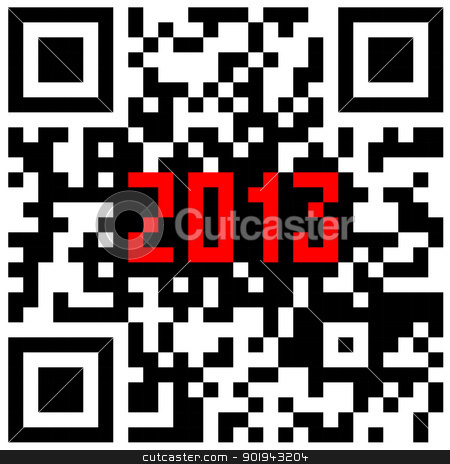 2013 New Year counter, QR code vector. stock vector clipart, 2013 New Year counter, QR code vector. by aarrows