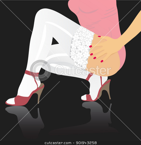 Beautiful female feet. A vector background  stock vector clipart, Beautiful female feet. A vector background  by aarrows