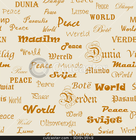 Peace . Seamless wallpaper with the word peace in different lang stock vector clipart, Peace . Seamless wallpaper with the word peace in different languages. by aarrows