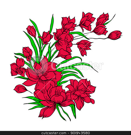 Flower bouquet, painted by hand.  stock vector clipart, Flower bouquet, painted by hand. Vector illustration. by aarrows