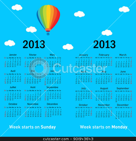 Stylish French calendar with balloon and clouds for 2013. In Fre stock vector clipart, Stylish French calendar with balloon and clouds for 2013. In French and English. by aarrows