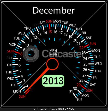 2013 year calendar speedometer car in vector. December. stock vector clipart, 2013 year calendar speedometer car in vector. December. by aarrows