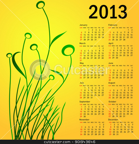 Stylish calendar with flowers for 2013. Week starts on Sunday. kalender 2013 stock vector clipart, Stylish calendar with flowers for 2013. Week starts on Sunday. kalender 2013 by aarrows