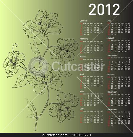 2012 vector calendar with flowers stock vector clipart, 2012 vector calendar with flowers by aarrows