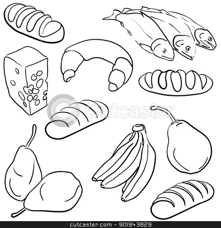 food icons stock vector clipart, big collection of hand drawn food by aarrows