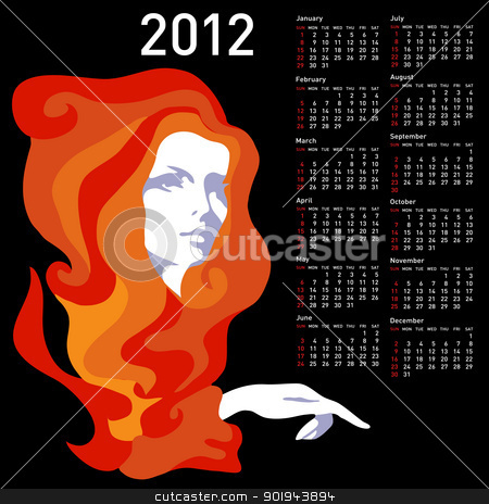 Stylish calendar with woman  for 2012. Week starts on Sunday. stock vector clipart, Stylish calendar with woman  for 2012. Week starts on Sunday. by aarrows
