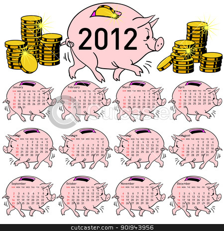 Stylish calendar  Pig piggy bank for 2012. stock vector clipart, Stylish calendar  Pig piggy bank for 2012. Sundays first by aarrows