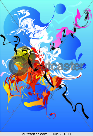 multi-coloured abstract composition  stock vector clipart, multi-coloured abstract composition of delicate lines by aarrows