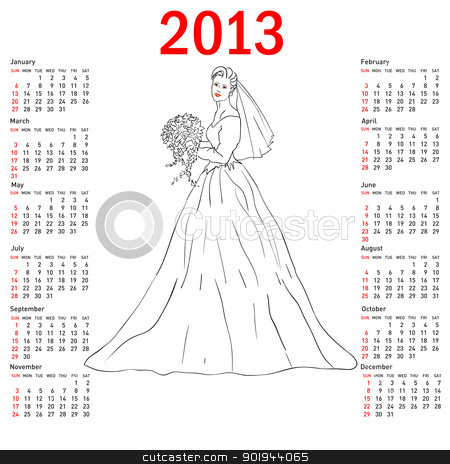 Stylish calendar Bride in wedding dress white with bouquet for 2 stock vector clipart, Stylish calendar Bride in wedding dress white with bouquet for 2013. Week starts on Sunday. by aarrows