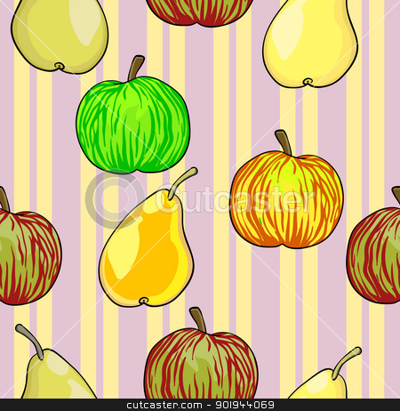 Seamless fruit pattern apples and pears   stock vector clipart, Seamless fruit pattern apples and pears  vector illustration by aarrows