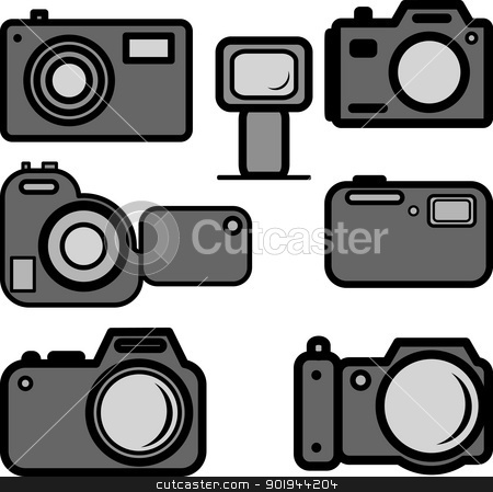 A set of digital cameras stock vector clipart, A set of digital cameras by aarrows