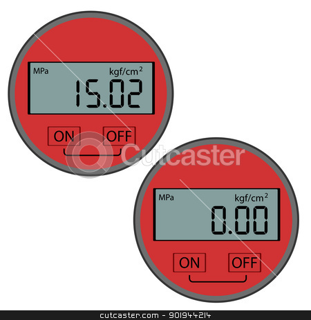 The modern digital gas manometer stock vector clipart, The modern digital gas manometer isolated on white background by aarrows