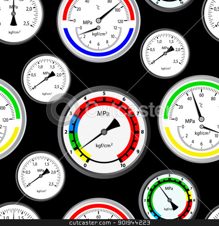 Seamless wallpaper the gas manometer  stock vector clipart, Seamless wallpaper the gas manometer vector background by aarrows